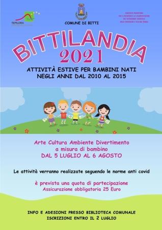Apertura iscrizioni a Bittilandia 2021 presso Biblioteca Comunale Bitti
